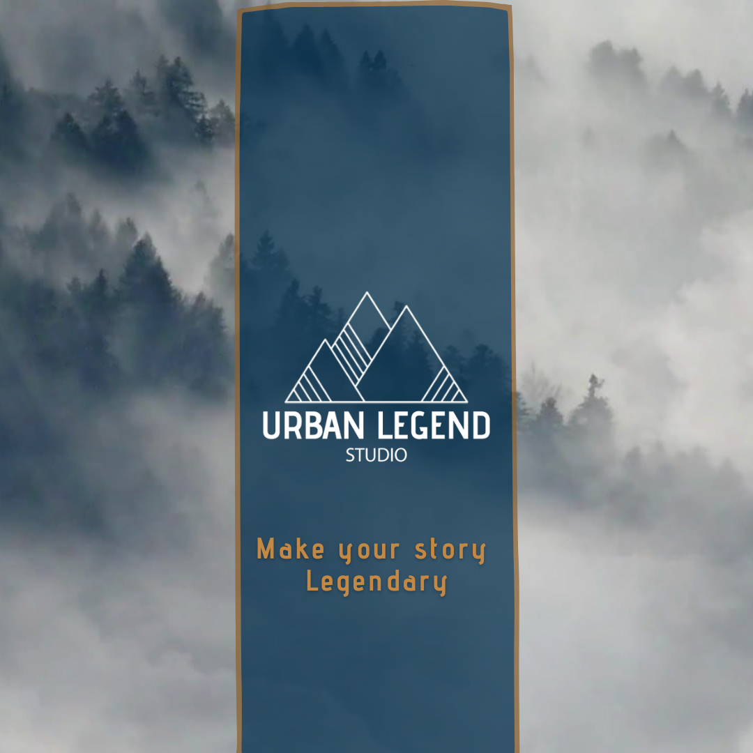 A misty mountain behind a blue banner with Urban Legend Studio Logo on
